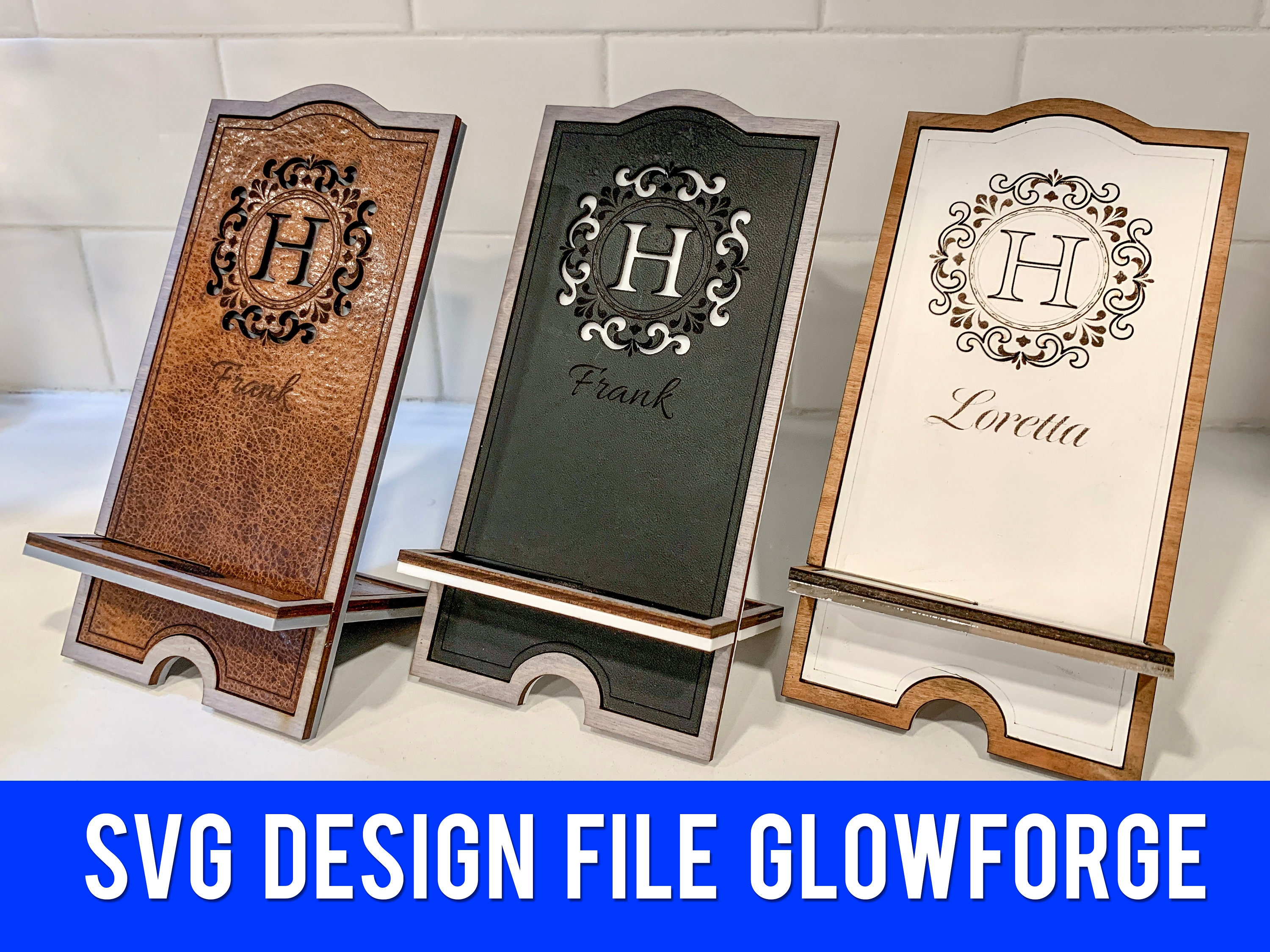 Leather Phone Stand SVG File - Glowforge Ready Design File - Entire Alphabet A-Z