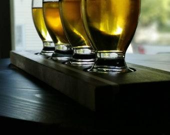 Repurposed wood beer flight tray