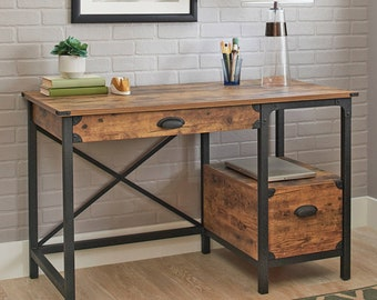 Desk Writing Rustic Wood Country Style, Home Office Computer Storage Desk with Metal Legs, Pine Finish