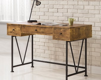 Writing Desk Home Office With 3 Drawers, Farmhouse Rustic Study Desk, Antique Nutmeg