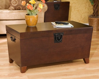 Coffee Table Trunk Wood Storage, Blanket Chest Organizer, Lid Opens For Storage, Espresso Finish