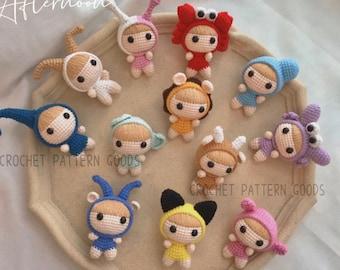 12 Horoscope Crochet Doll Keychain, 12 Constellations crochet pattern. PDF amigurumi pattern. English