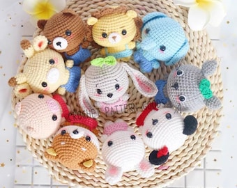 11 Zoo Animals Crochet Doll Keychain, 11 animals pet crochet pattern. PDF amigurumi pattern. XVA Formats. English