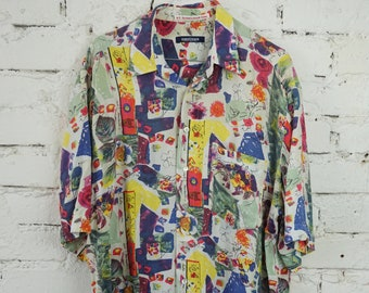 90s Abstract Shirt XL Oversize Button Up Top Made In Finland Rayon Overshirt Button Down Navy Blue Gray White Patterned Blouse Festival Top