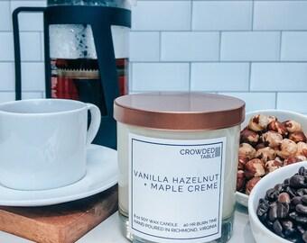 Vanilla Hazelnut + Maple Creme 8 oz. Hand-Poured Soy Wax Candle
