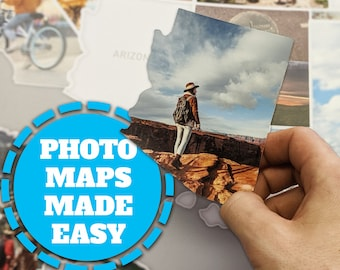 """USA Photo Map - Includes website to create your photos - 24"""" x 36"""""""