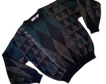 Vintage Knit Pullover 90s pattern KK03110 blue Vintage Sweater 80s grey