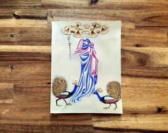 Juno and her peacocks illumination painting original artwork