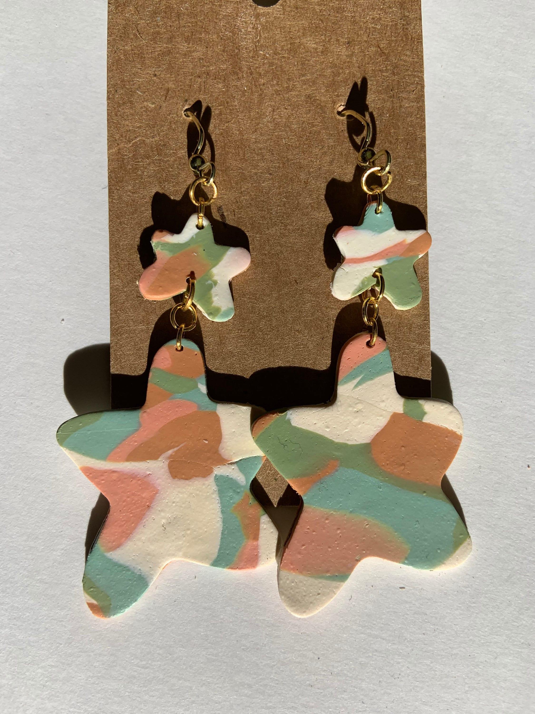 Double Amoeba Olive Marble Polymer Clay Earrings