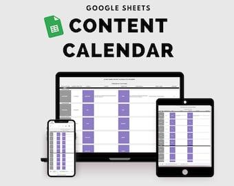 Social media Content Calendar,Content Calendar Template, Instagram, Facebook Pinterest, Blog content calendar - Google Sheets Template