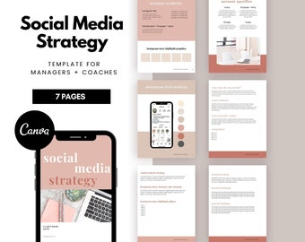 Social Media STRATEGY Template | Social Media Canva Template for Social Media Managers, Freelancers & Marketers, Marketing Specialist, Pink