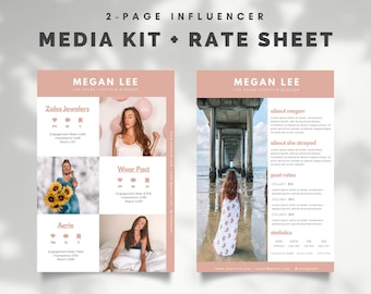 Instagram Influencer Media Kit Template, Rate Sheet, Two Pages, Editable in Canva, Rate Card, Press Kit, Business, Instagram, YouTube