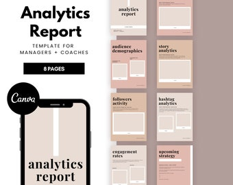 Social Media Analytics Report Template | Social Media Planner | Instagram Analytics Template | Social Media Managers & Virtual Assistants