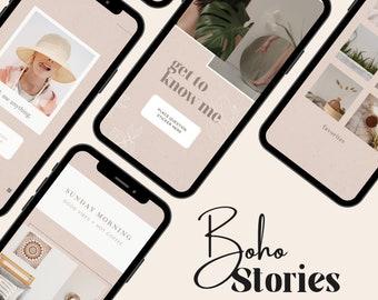 14 Instagram Templates Canva, Instagram Story Templates, Instagram Post Template, Blogger Template| Nude Theme| Beige Feed| Boho Minimalist
