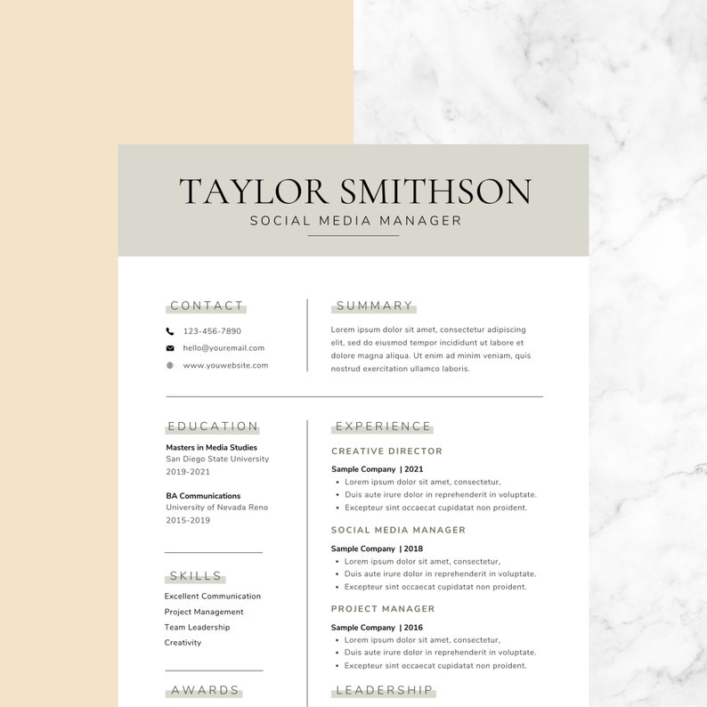 Professional Resume Template for Canva  Resume/CV  Cover image 0