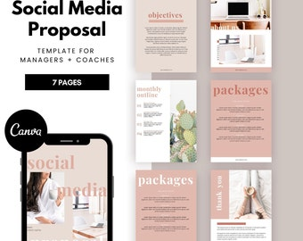 Social Media PROPOSAL Template | Social Media Canva Template for Social Media Managers, Freelancers & Marketers, Marketing Specialist, Pink