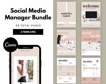 Social Media Manager Template Bundle | Social Media Manager Template Package| Invoice, Proposal, Strategy, Analytic Report, Welcome Handbook