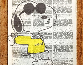 Charlie Brown and Snoopy Peanuts Gift,CODE C37 Vintage dictionary art,Wall art,,Kitchen,house art Cartoon art