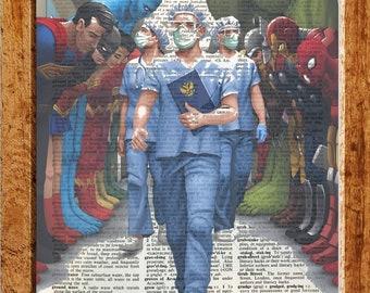 Vintage dictionary art,Wall art,,Kitchen,house art Gift,CODE T70 Superman Illutration-super hero on the toilet art
