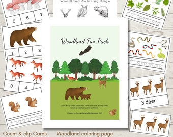 Woodland Fun Pack, Montessori, Count & Clip cards, tracing words, Coloring page, Create a woodland scene, Early years learning, kindergarten