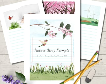 Nature Story Prompts, Creative Writing Journal, Story Starters, Homeschooling