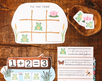 Five Little Frogs, early years math, counting to 5, memory match game, tracing numbers & pond vocabulary tracing cards, create a pond scene