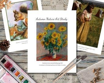 Autumn Nature Art Study, Exploring Nature with Children, Morning Basket, Poetry Tea Time, Art Study, Charlotte Mason, Homeschooling, Digital