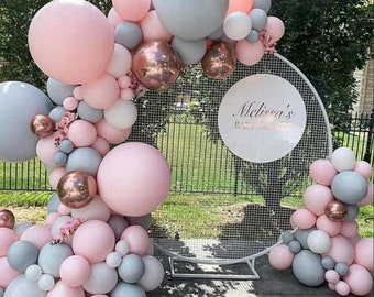 Double Stuffed Pink Rose Gold and Grey Double Stuffed Balloon Arch Garland 109Pcs    Wedding   Baby Shower   Birthday   Party Decor.