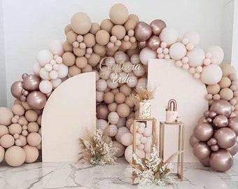 Nude Chrome Champagne Balloon Arch garland   Retro   Natural   Boho Theme   Boohoo  Baby Shower   Bridal Shower   Wedding.