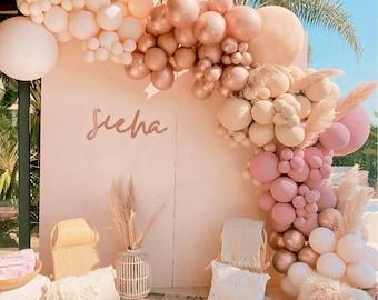 Double Stuffed ,Bohoo Rainbow Balloons Arch kit for BridalShower, baby shower, bohoo parties,  blush, sand boho, brown balloon Garland kit