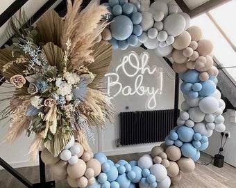 140Pcs Balloon Arch Garland Kit | Macaron Blue Grey Apricot Balloon Arch Kit Garland | Baby Shower Decor | Baby Boy | Birthday Boy.