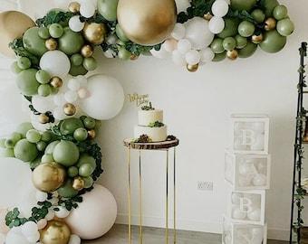152pcs Vintage Green Premium Balloons Arch Kit | Balloon Garland |  Retro Green | Gold Latex | Avocado Color| Eucalyptus Series |Party Decor