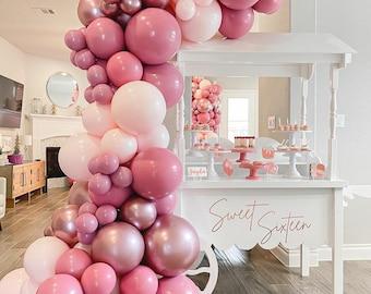 119pcs Peach Pink Balloon Arch Garland Kit Rose Gold Chrome Latex ,Wedding Party Decor, birthday party, Bridal Shower, babyShower.