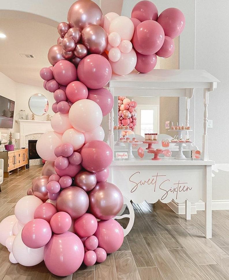 119pcs Peach Pink Balloon Arch Garland Kit Rose Gold Chrome image 1