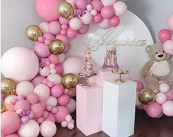 107Pcs Pink Balloon Arch Garland   Blush Gold Confetti   Gold Latex Balloons   Party Balloons for Baby Shower Wedding Birthday Party