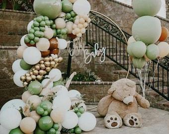 152pcs Saga Green Premium Balloons Arch Kit | Balloon Garland |  Retro Green | Gold Latex | Avocado Color | Eucalyptus Series | Party Decor.