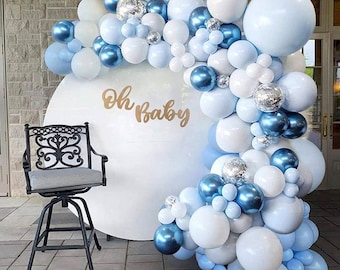 104 Pcs Blue Balloon Arch Kit | Blue Silver White Navy Balloons | Silver 4D Foil Balloons | Metal Balloon Garland | for Boy Baby Shower.