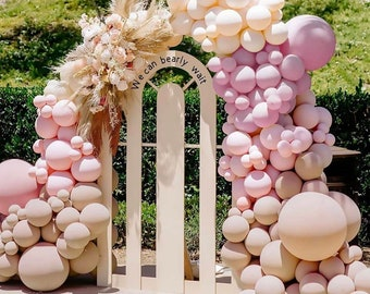 Double Stuffed , Blush Pink Apricot Balloons Arch kit for BridalShower, baby shower, bohoo parties, sand boho, Purple balloon Garland kit