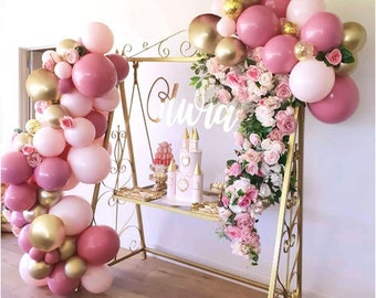 107 Pink Balloon Arch Garland | Blush Gold Confetti | Gold Latex Balloons | Party Balloons for Baby Shower Wedding Birthday Party