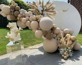 87X Doubled Apricot Coffee Brown Balloon Arch Garland Wedding Birthday decoration