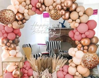 Nude Retro Pink Balloons Garland Kit with 4D Animal Foil Balloons for Boho Safari Wedding Bridal Engagement, Birthday, Baby Shower
