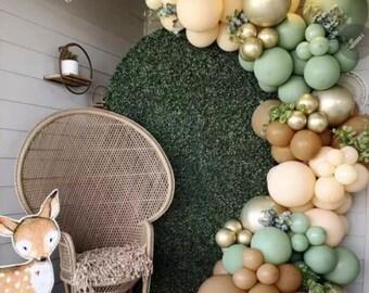 Retro Green Jungle .Boho Safari ,Blush Balloon Arch | Green Balloon Garland Arch Kit | Rustic Wedding Decoration | Retro Brown | Sage Green.