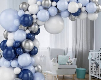 87 Pcs Blue Balloon Arch Kit   Blue Silver White Navy Balloons   Silver 4D Foil Balloons   Metal Balloon Garland   for Boy Baby Shower.