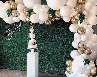 120PCS White Balloon Arch Garland Kit | Confetti And Gold Metallic Balloons | Baby Shower | Birthday Party | Background Decoration.