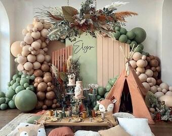 Jungle theme ,Eucalyptus Green Premium Balloons Arch Kit | Balloon Garland |  Retro Green | Gold Latex | Avocado Color | Saga Green |