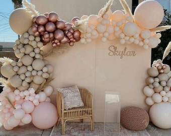 147 Double stuffed Bohoo Rainbow Balloons Arch kit for BridalShower, baby shower, bohoo parties,  blush, Apricot, pink ,balloon Garland kit