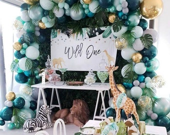 167Pcs Jungle Safari, Theme Party Supplies, Jungle Party Balloon Garland Kit with Palm Leaves,colorful balloons for Kids Boys Girls Birthday