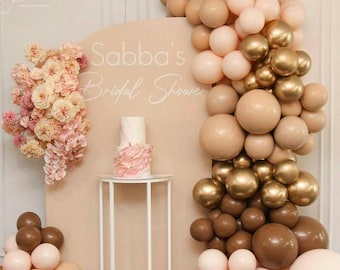 114pcs Doubled Coffee Cream Apricot Boho Balloon Arch, Balloons Garland,Birthday, Baby Shower Decor,Bridal Shower, Adult Party, Engagement.