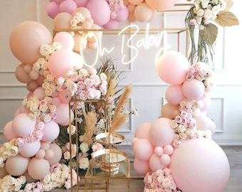 Blush Pink Apricot Balloons Arch kit   Double Stuffed   for BridalShower, baby shower, bohoo parties, sand boho, Purple balloon Garland kit