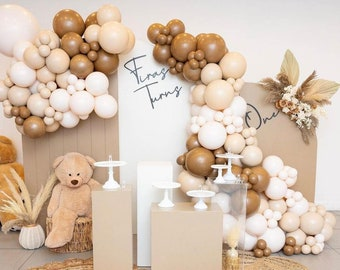 102pcs Coffee Aprico Double Layer Balloon Arch | Balloons Garland | Birthday | Baby Shower Decor | Bridal Shower | Adult Party | Engagement.